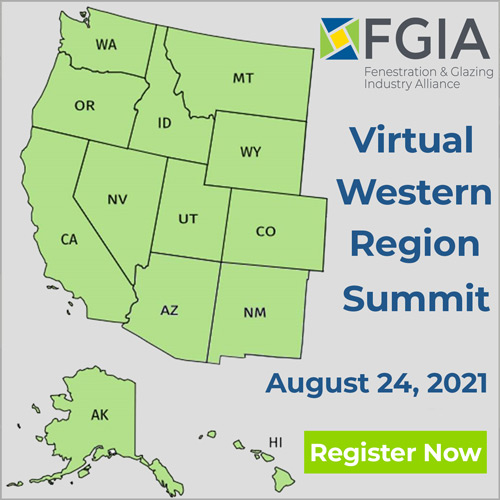Virtual Western Region Summit register now ad with FGIA logo and map